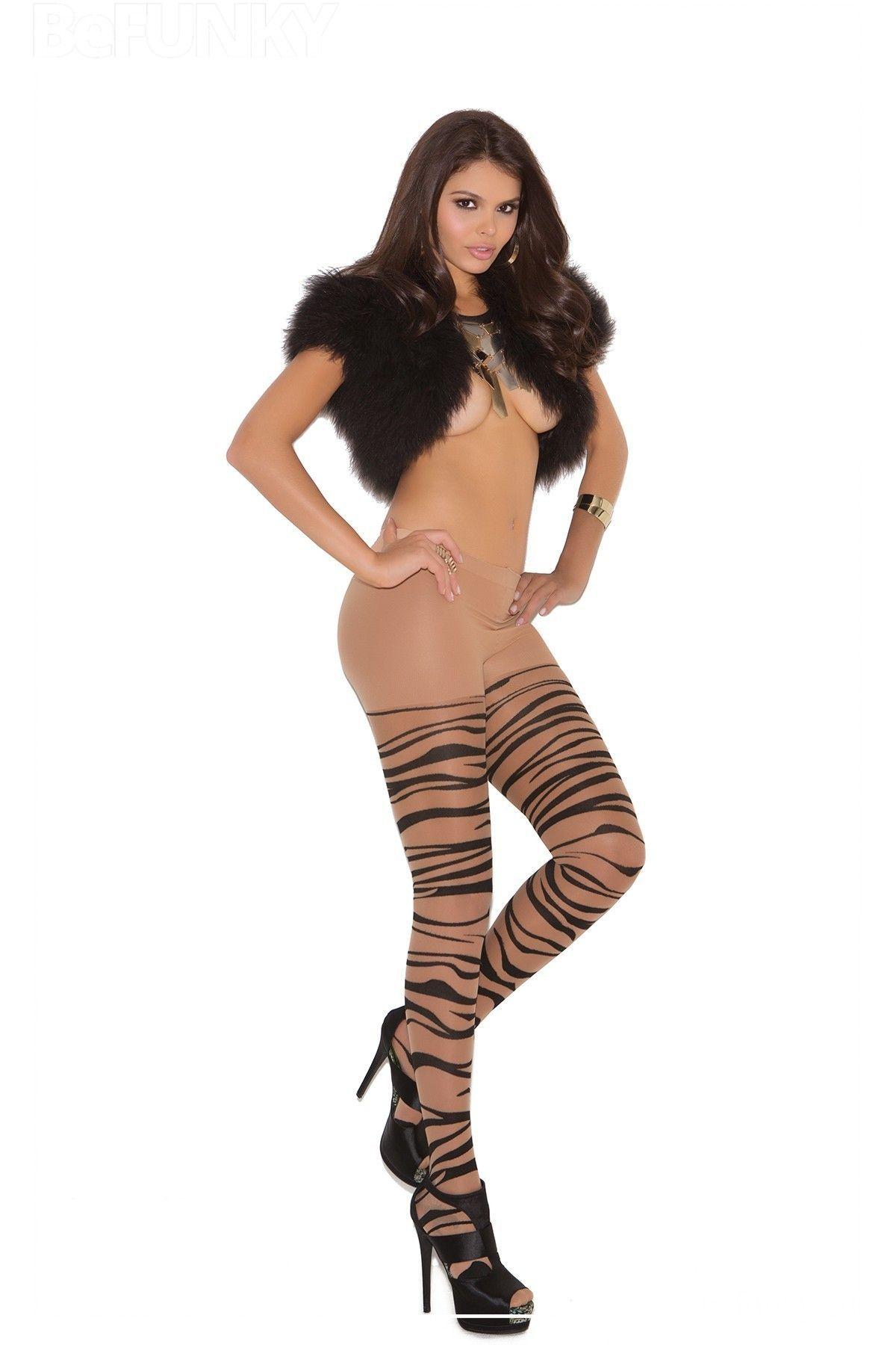 Panty fino con estampado de zebra