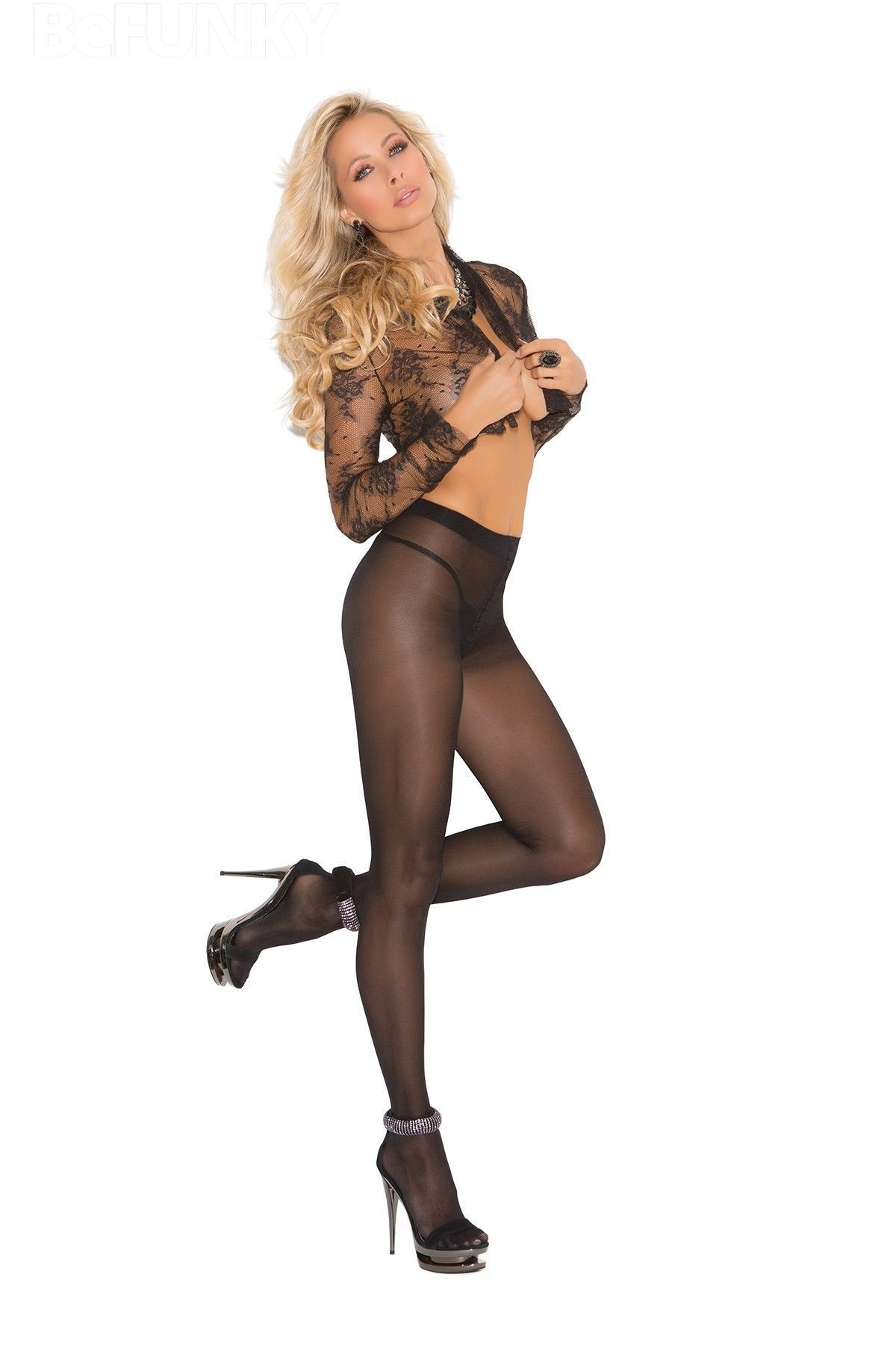 Thin opaque tights with cotton crotch