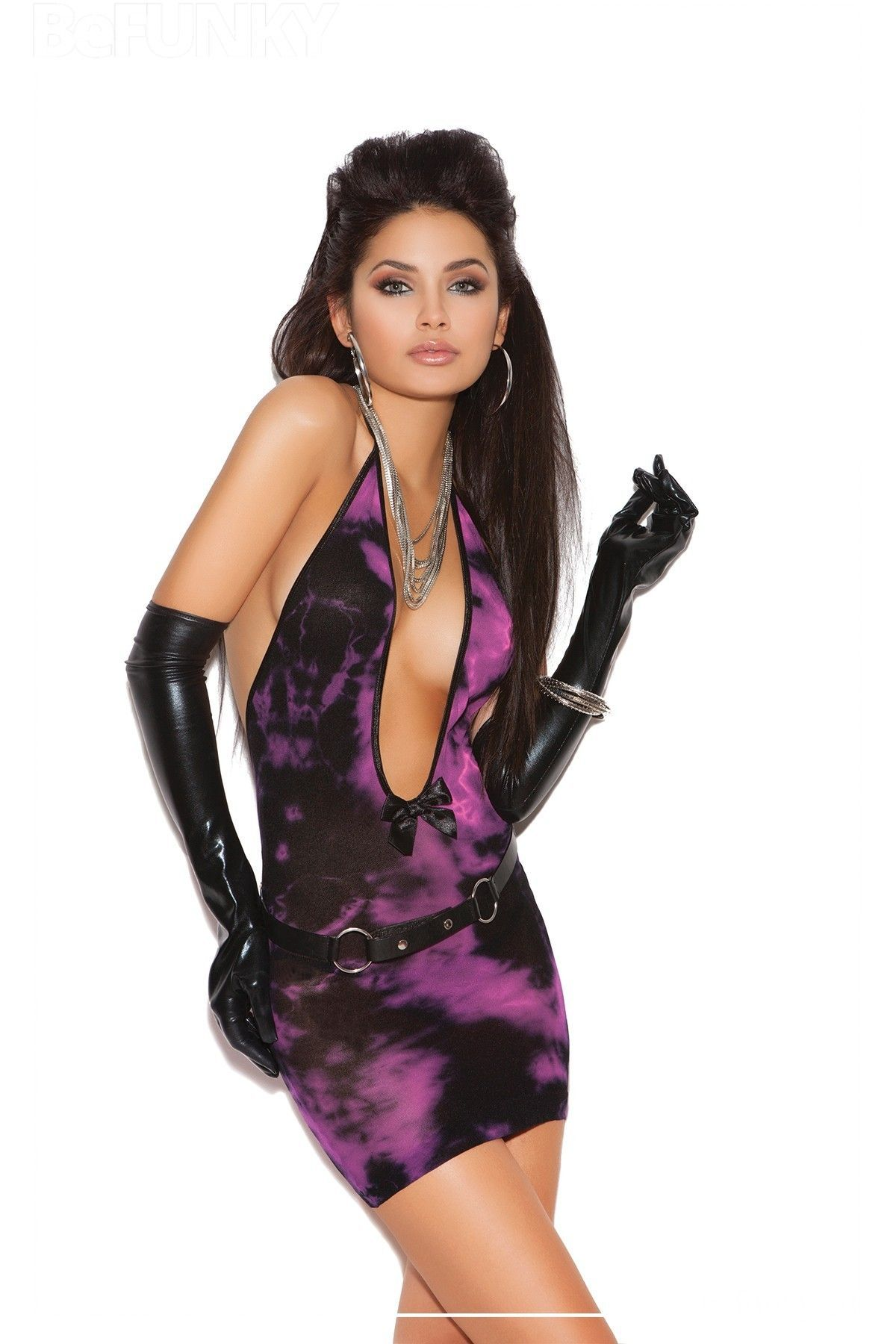 Mini vestido con escote profundo en V de estilo desteñido con lacito