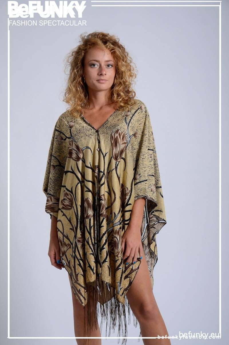 Fringed Button Poncho