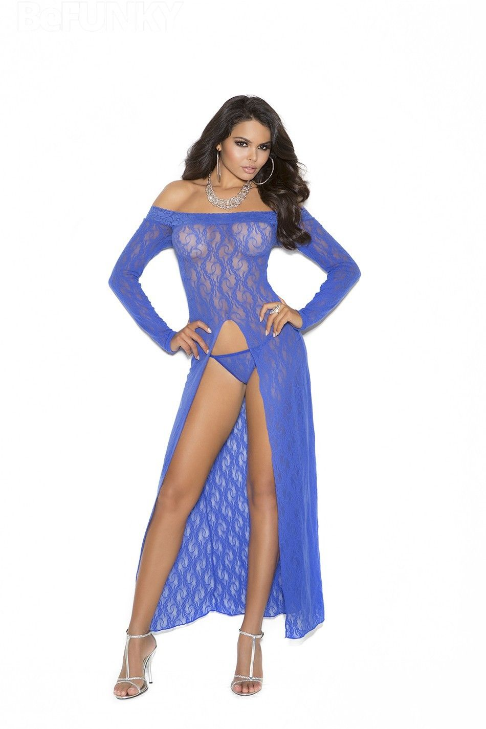Long sleeve lace dress with front sash and thong