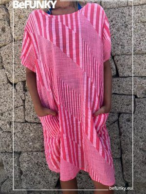 Vestido Rayas Diagonal Bolsillos