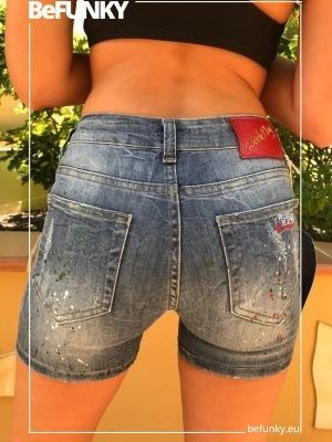 BeFunky Denim Embroidered Blue Denim Shorts